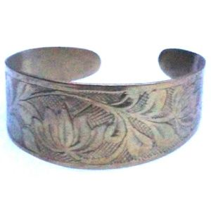 Vintage Beautifully Etched Solid Brass  Adj. Cuff